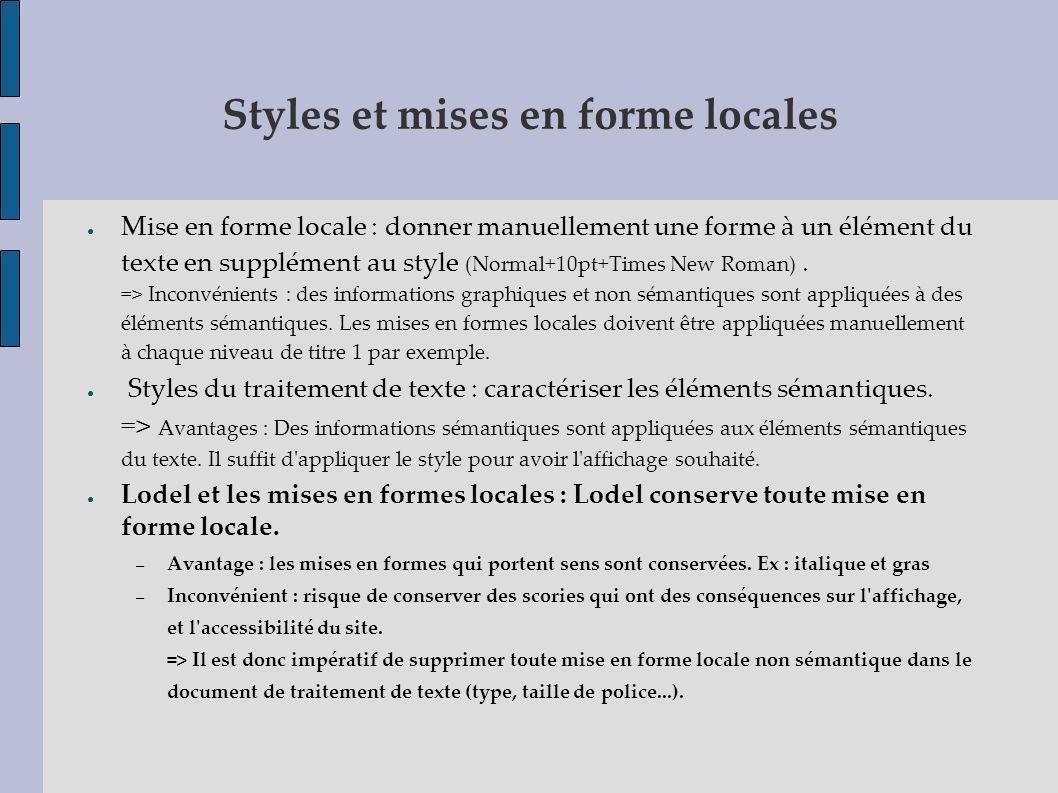 Styles et mises en forme locales