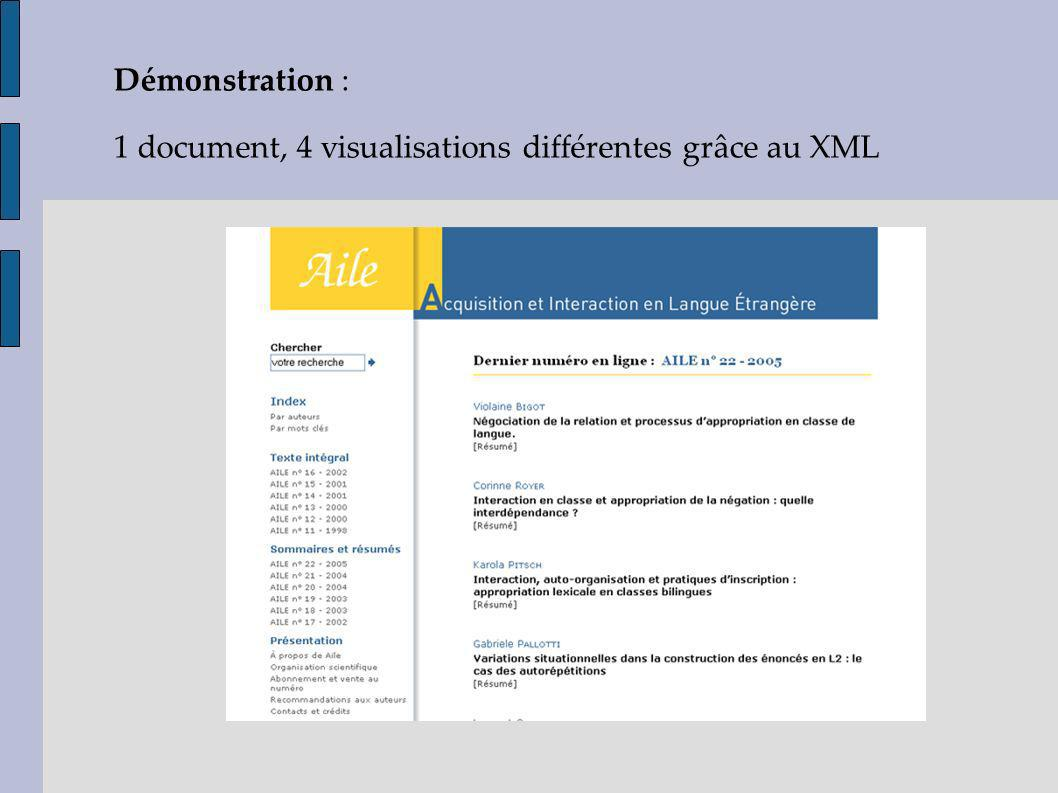 Démonstration : 1 document, 4 visualisations différentes grâce au XML