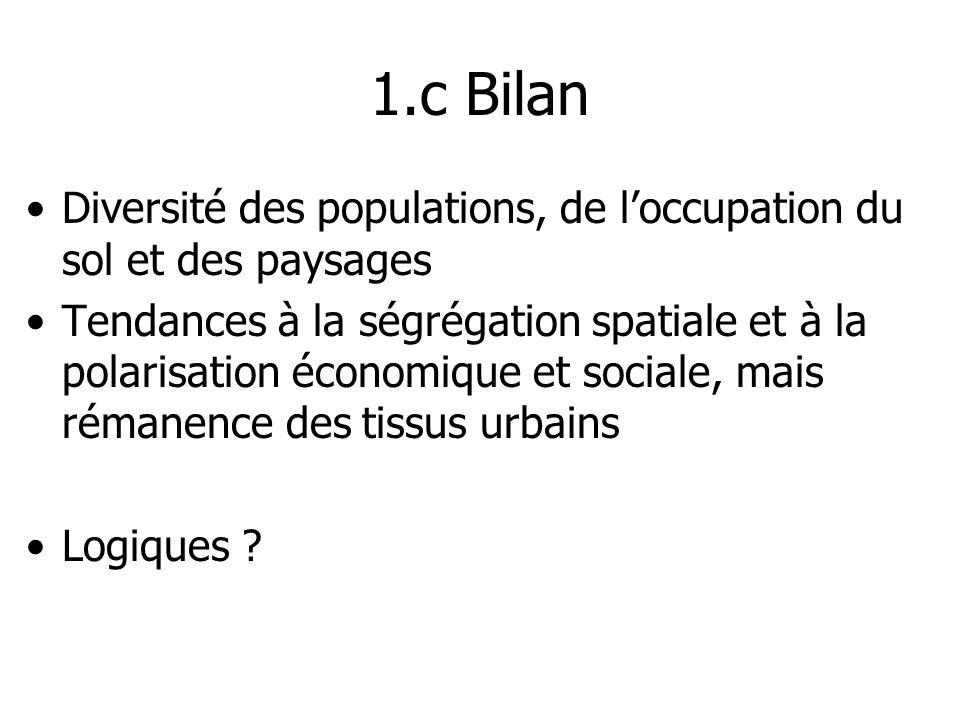 1.c Bilan Diversité des populations, de l'occupation du sol et des paysages.