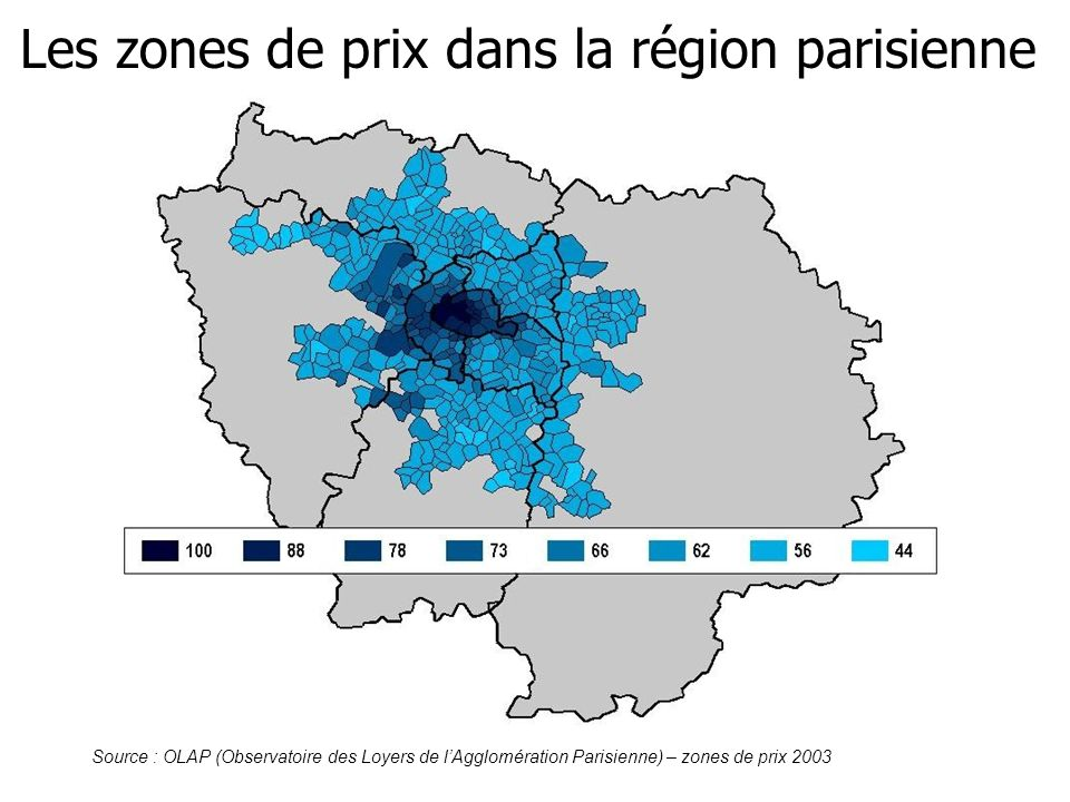 Les zones de prix dans la région parisienne