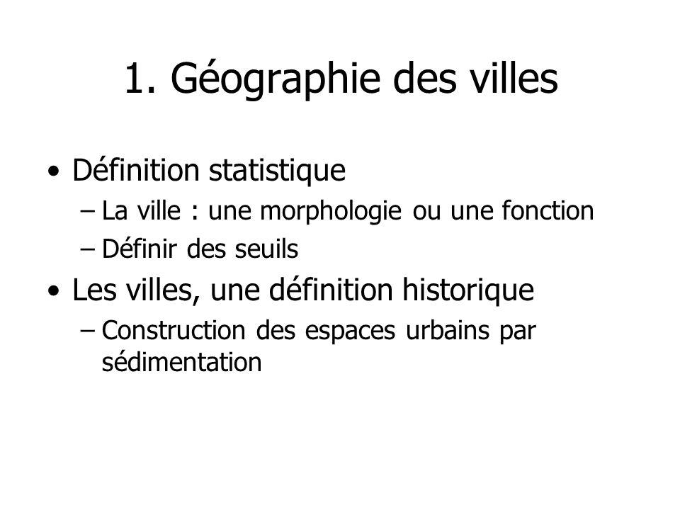 1. Géographie des villes Définition statistique
