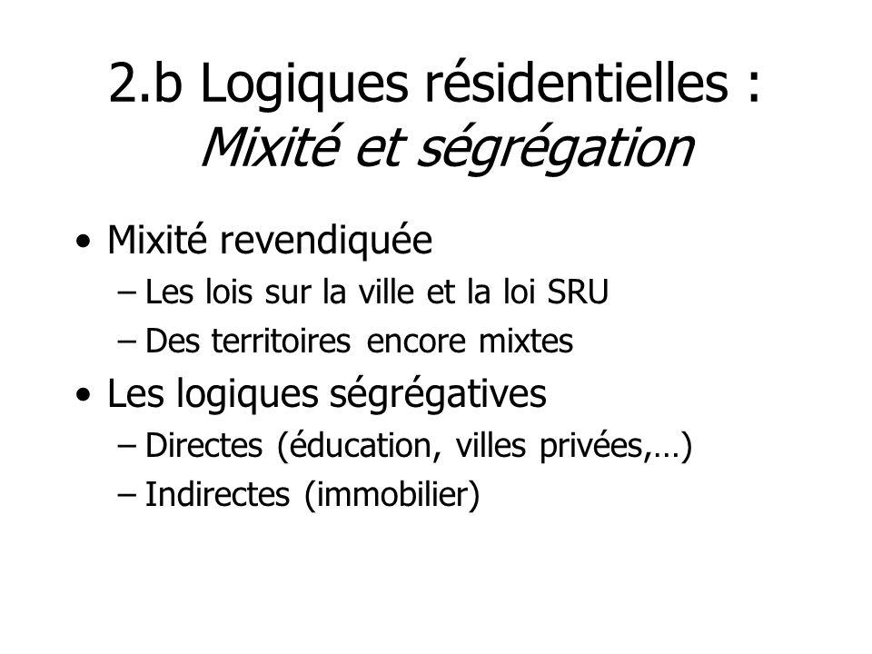 2.b Logiques résidentielles : Mixité et ségrégation