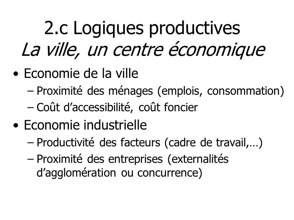2.c Logiques productives La ville, un centre économique