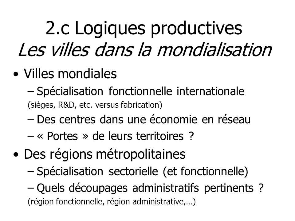 2.c Logiques productives Les villes dans la mondialisation