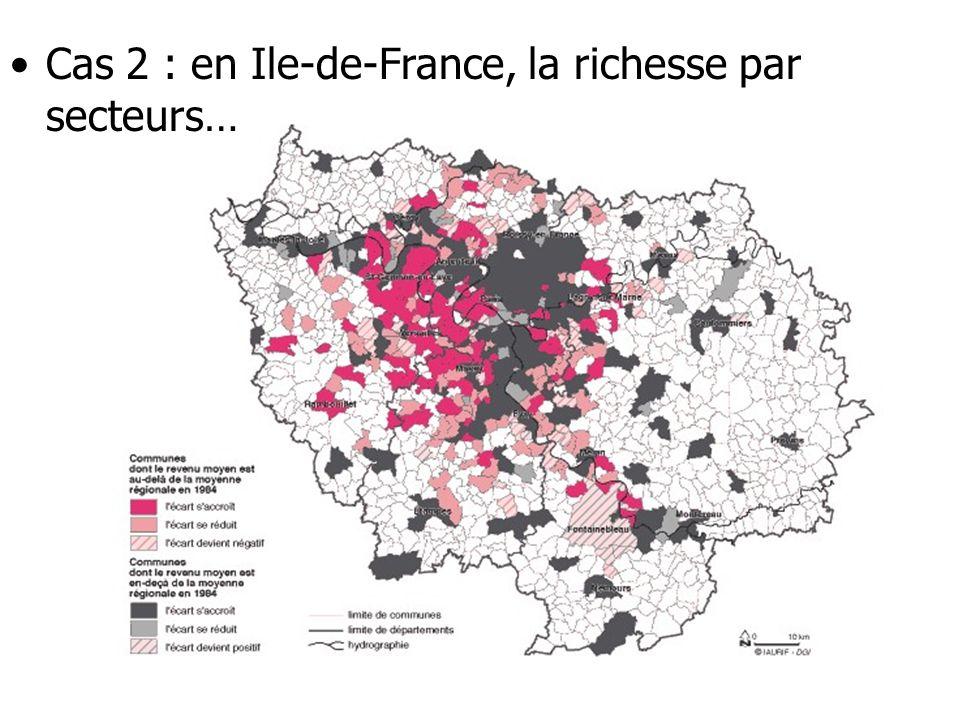 Cas 2 : en Ile-de-France, la richesse par secteurs…