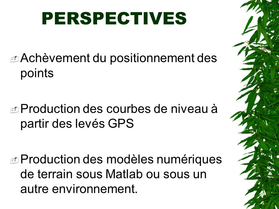 PERSPECTIVES Achèvement du positionnement des points