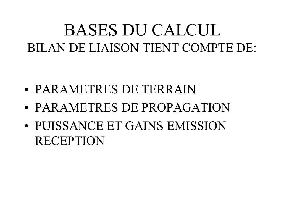 BASES DU CALCUL BILAN DE LIAISON TIENT COMPTE DE: