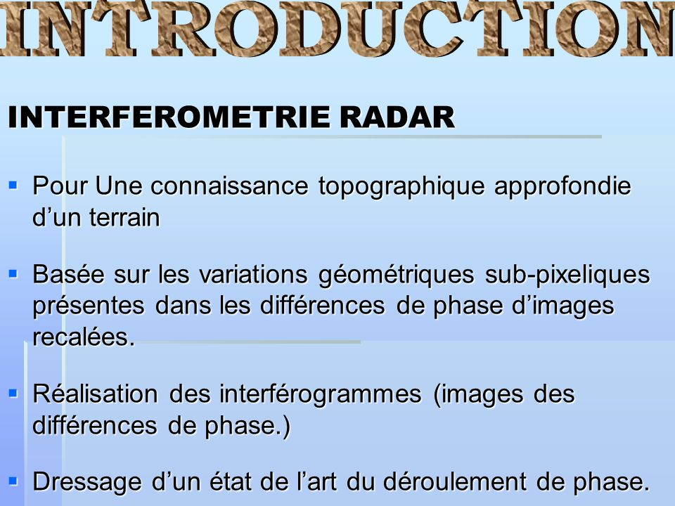 INTRODUCTION INTERFEROMETRIE RADAR