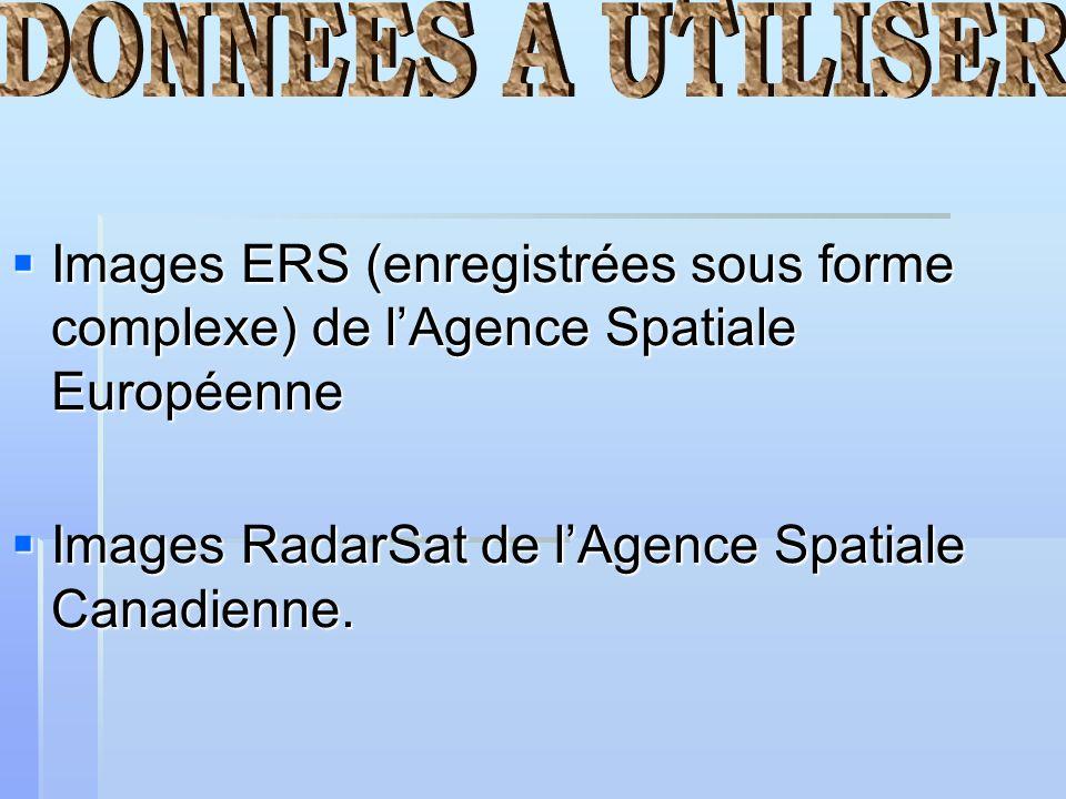 DONNEES A UTILISER Images ERS (enregistrées sous forme complexe) de l'Agence Spatiale Européenne.