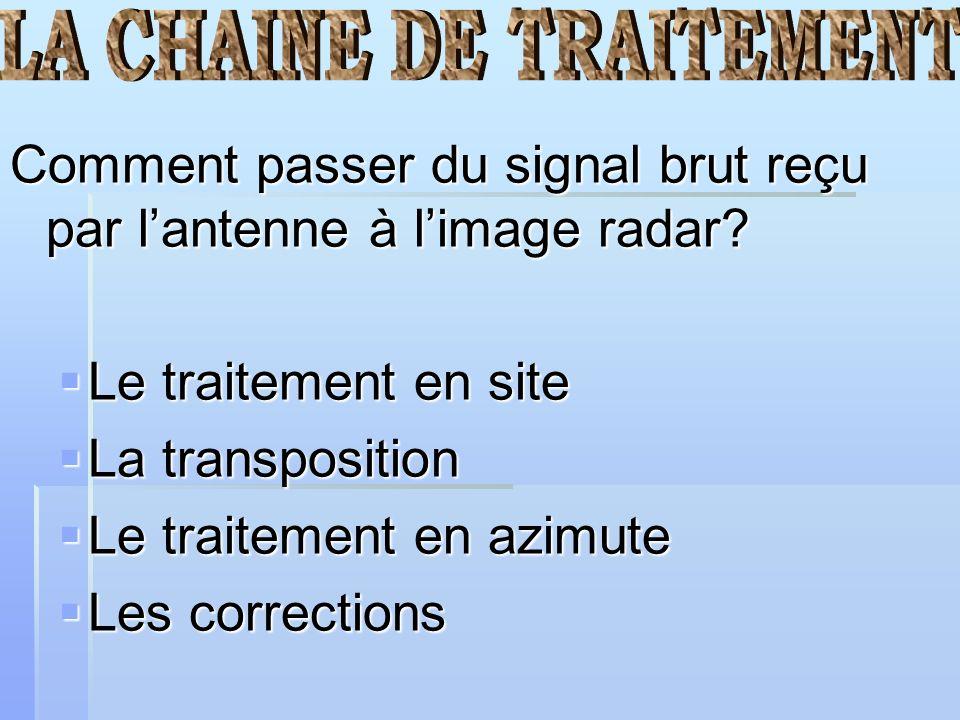 LA CHAINE DE TRAITEMENT