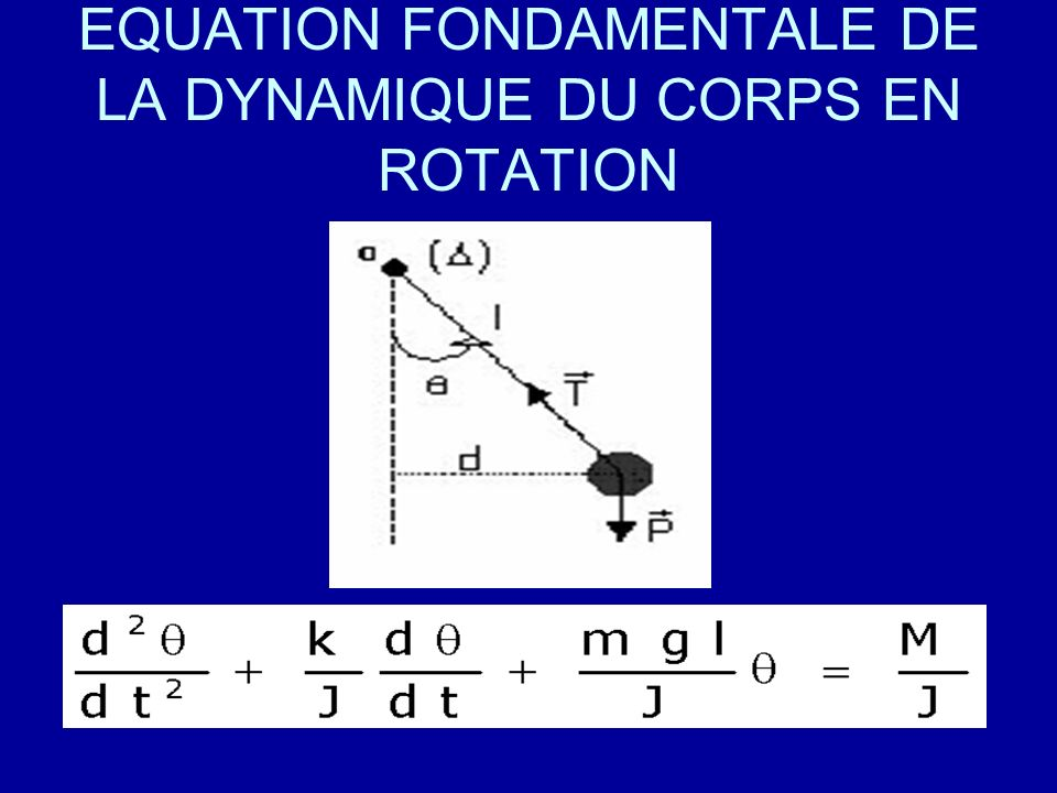 EQUATION FONDAMENTALE DE LA DYNAMIQUE DU CORPS EN ROTATION