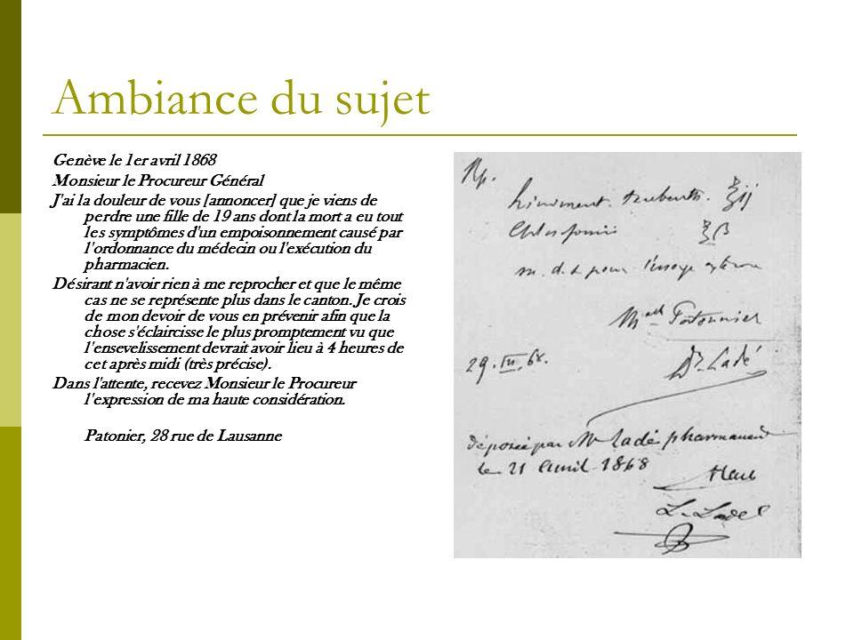 Ambiance du sujet Genève le 1er avril 1868
