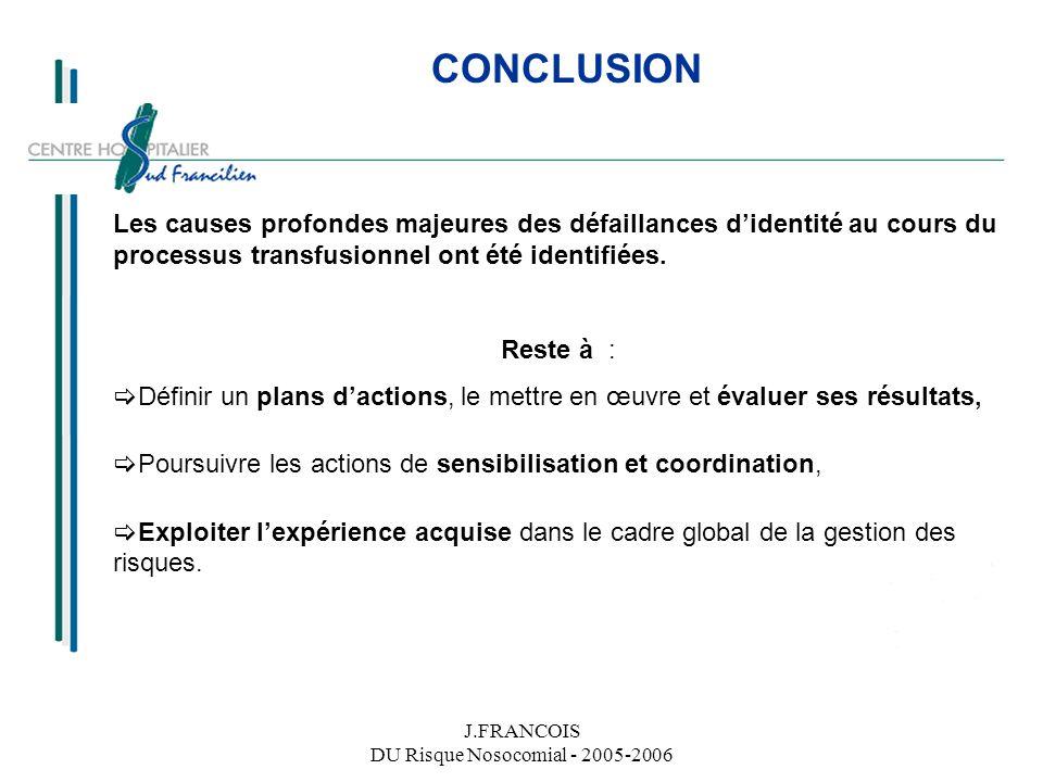 J.FRANCOIS DU Risque Nosocomial - 2005-2006
