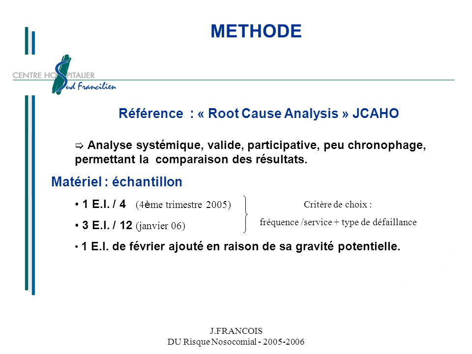 Référence : « Root Cause Analysis » JCAHO