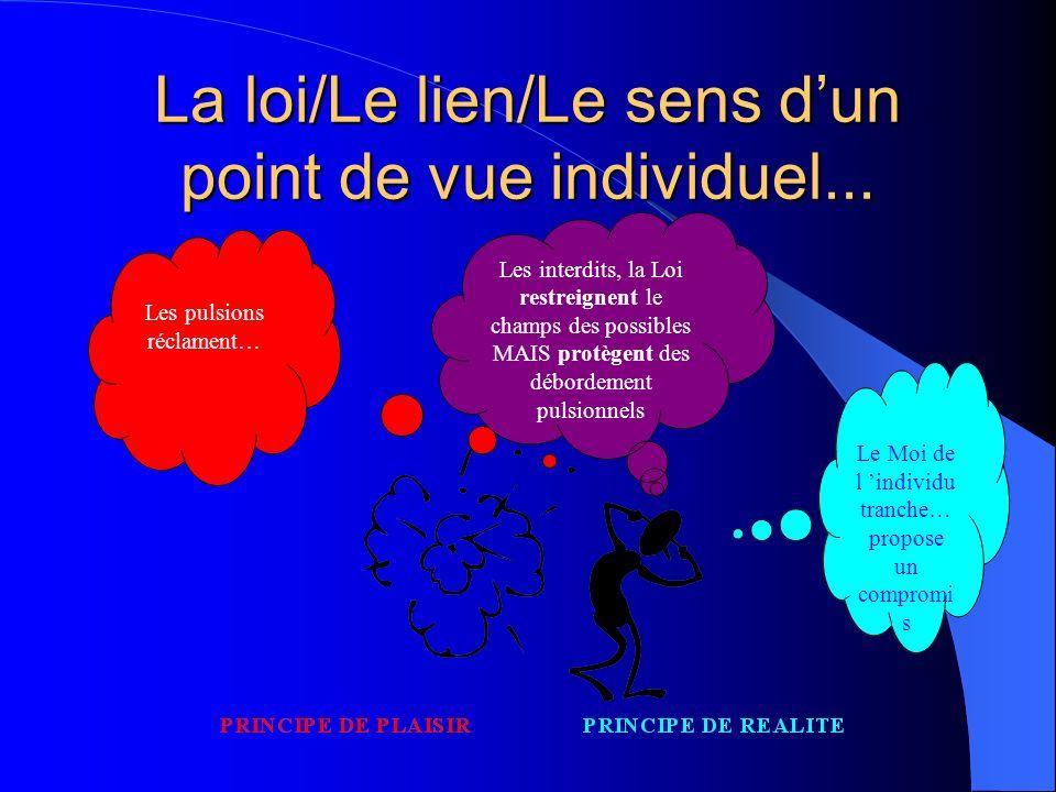 La loi/Le lien/Le sens d'un point de vue individuel...