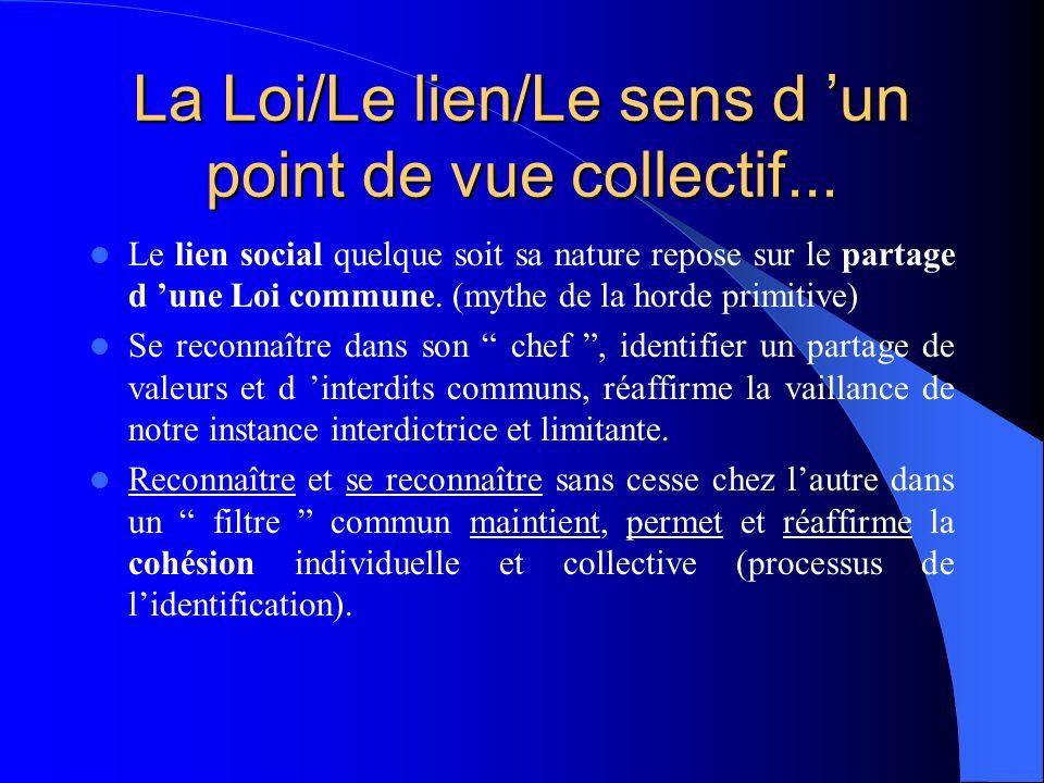 La Loi/Le lien/Le sens d 'un point de vue collectif...