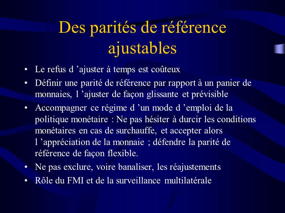 Des parités de référence ajustables