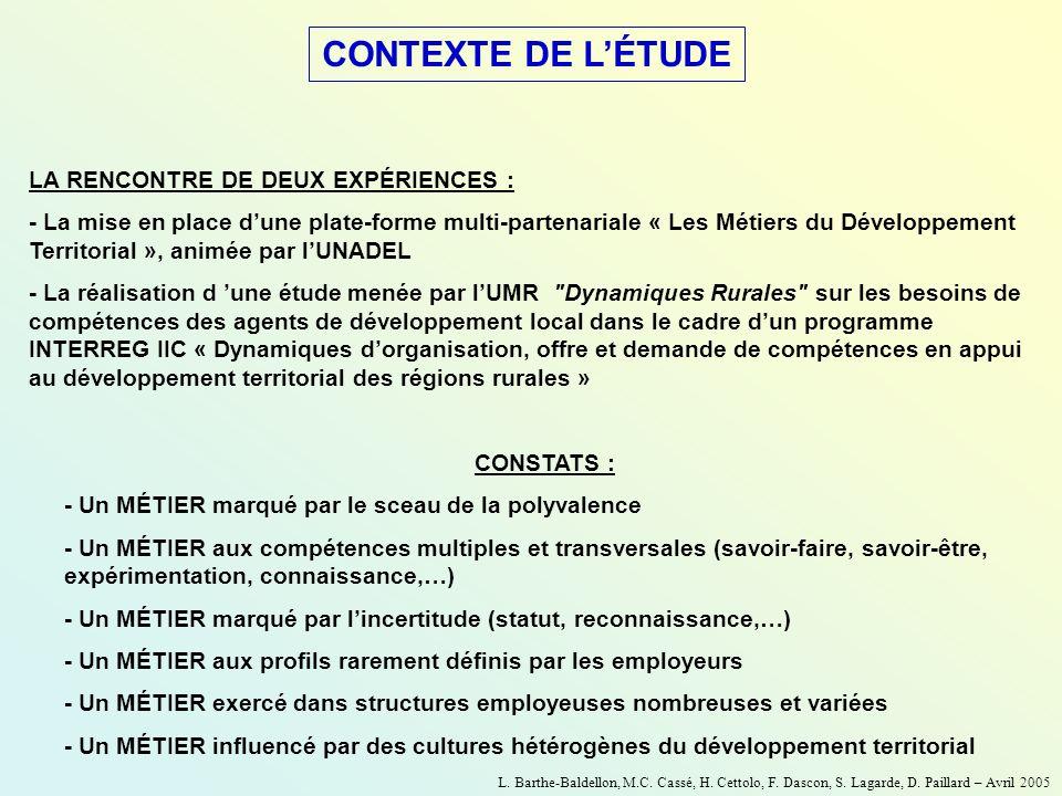 CONTEXTE DE L'ÉTUDE LA RENCONTRE DE DEUX EXPÉRIENCES :