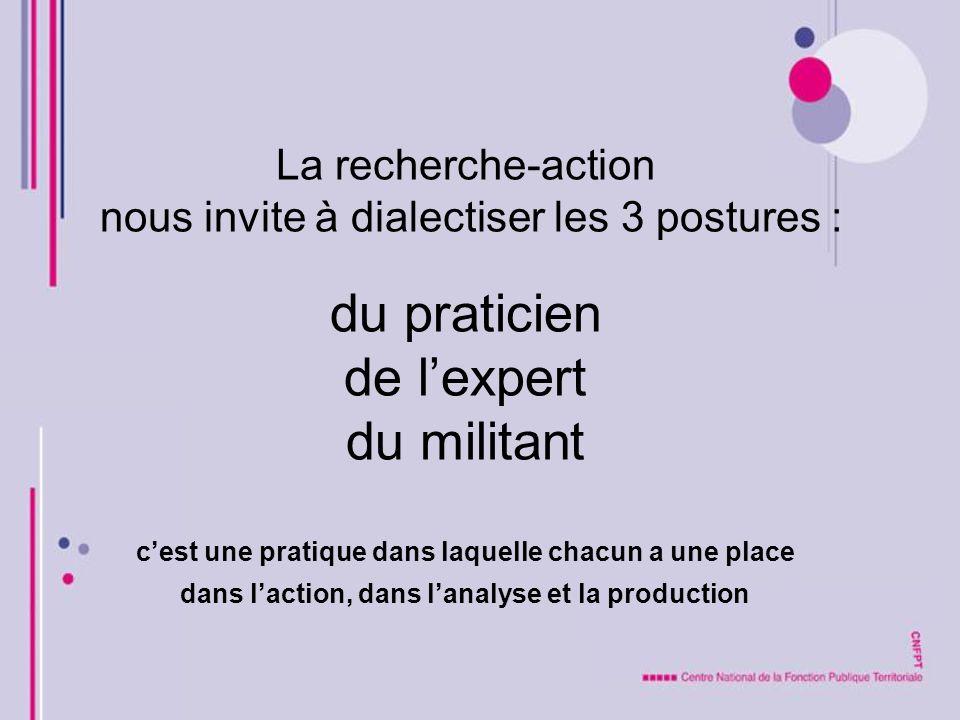 La recherche-action nous invite à dialectiser les 3 postures : du praticien de l'expert du militant c'est une pratique dans laquelle chacun a une place dans l'action, dans l'analyse et la production