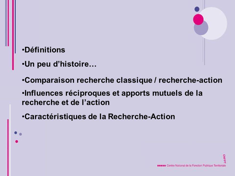 Définitions Un peu d'histoire… Comparaison recherche classique / recherche-action.