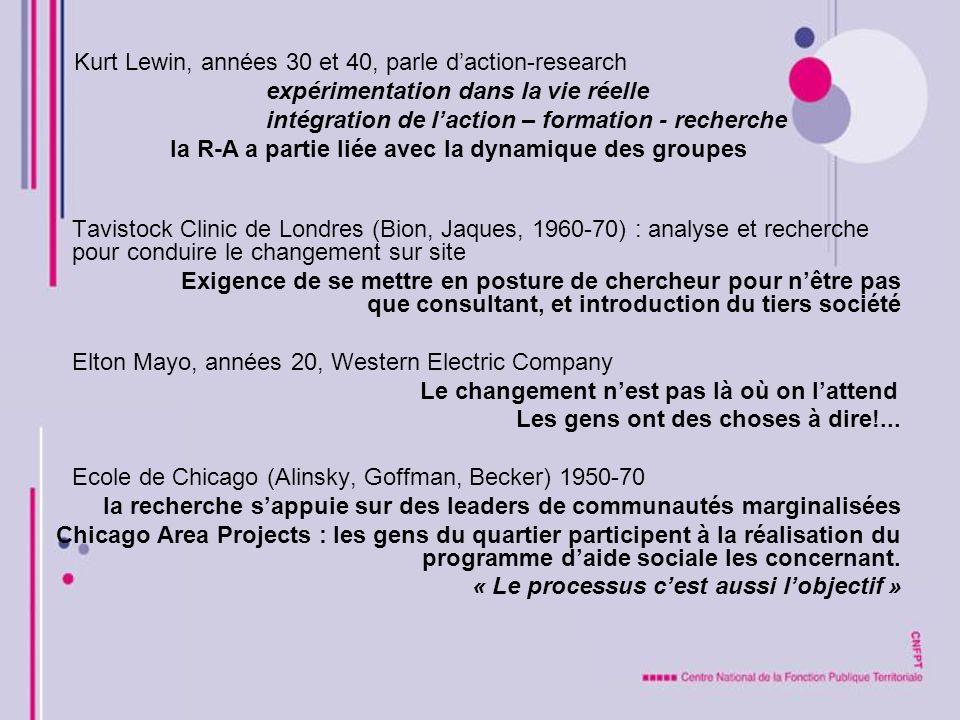 Kurt Lewin, années 30 et 40, parle d'action-research