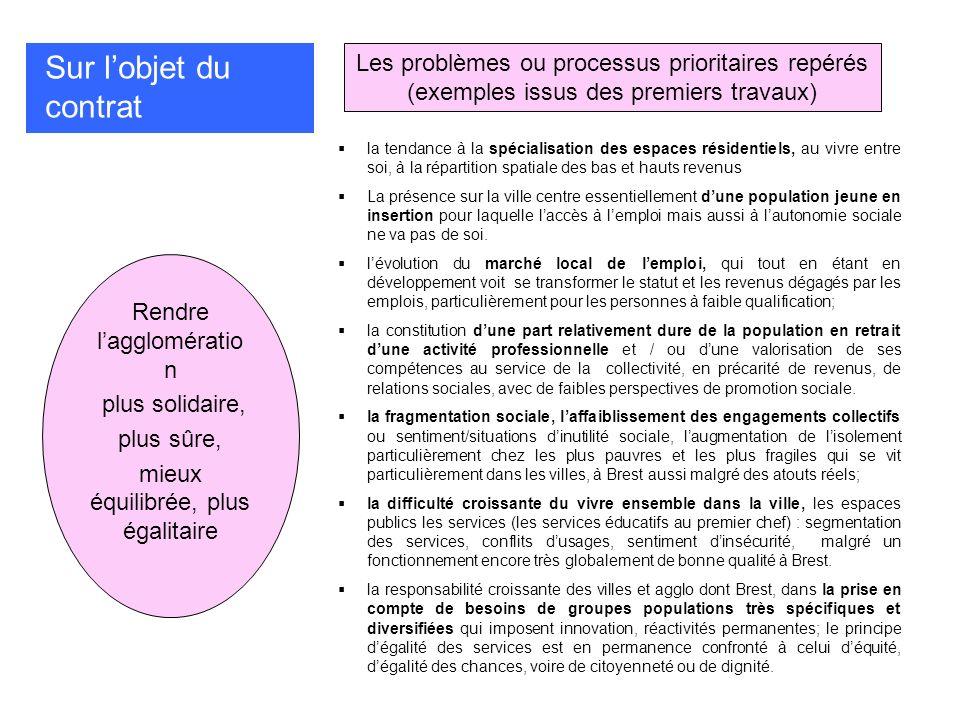 Sur l'objet du contrat Les problèmes ou processus prioritaires repérés