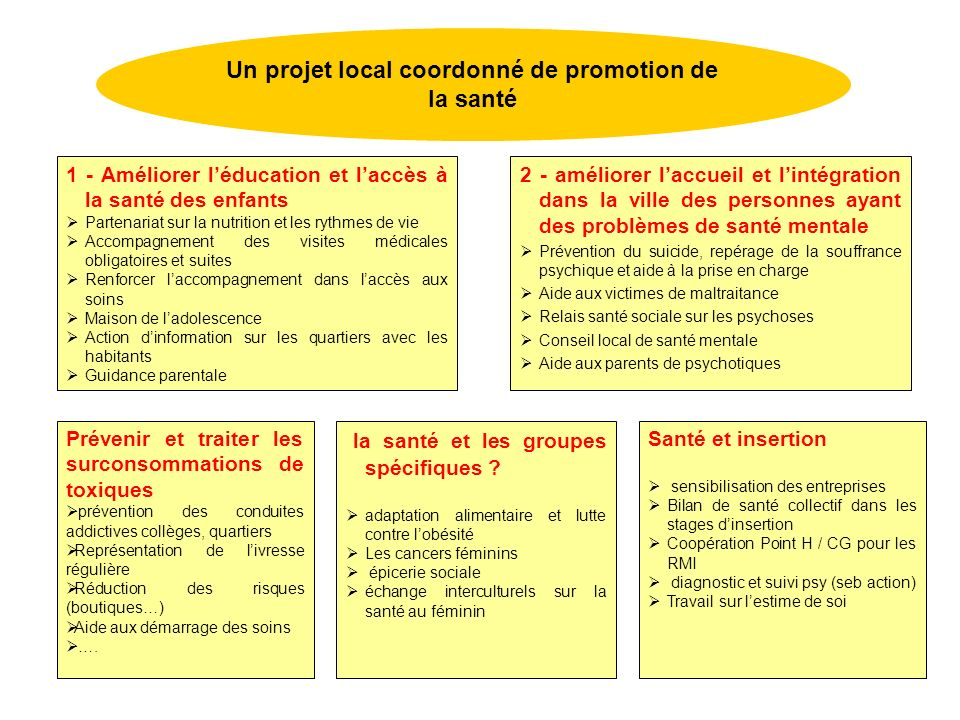 Un projet local coordonné de promotion de la santé