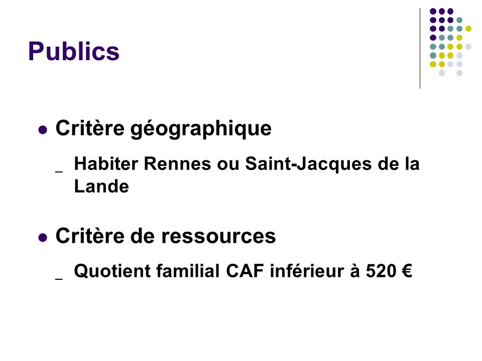 Publics Critère géographique Critère de ressources
