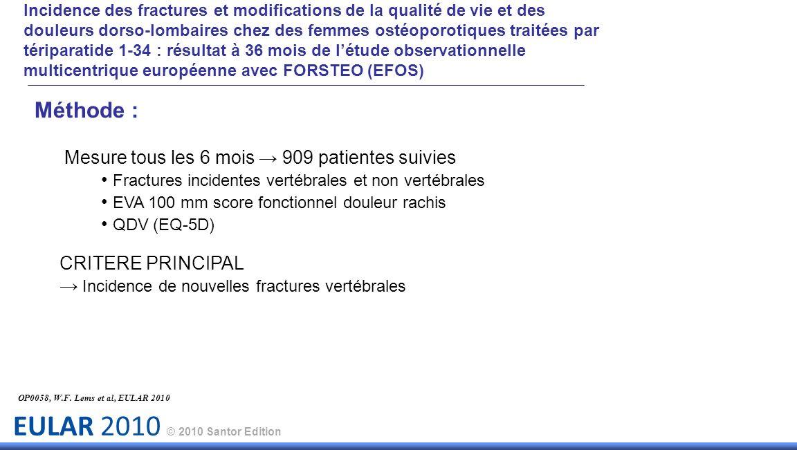 Incidence des fractures et modifications de la qualité de vie et des douleurs dorso-lombaires chez des femmes ostéoporotiques traitées par tériparatide 1-34 : résultat à 36 mois de l'étude observationnelle multicentrique européenne avec FORSTEO (EFOS)