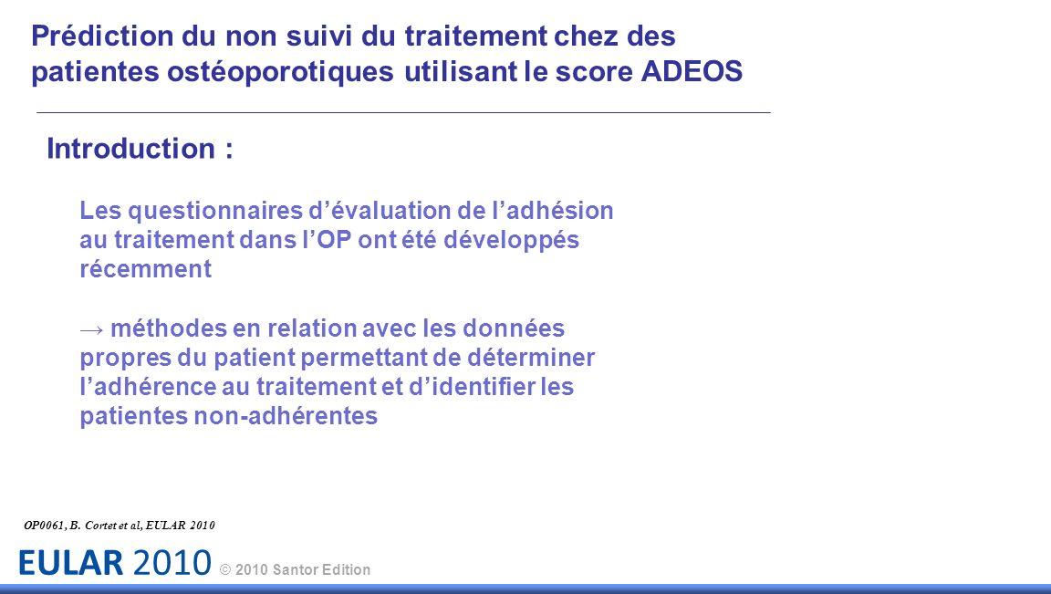 Prédiction du non suivi du traitement chez des patientes ostéoporotiques utilisant le score ADEOS