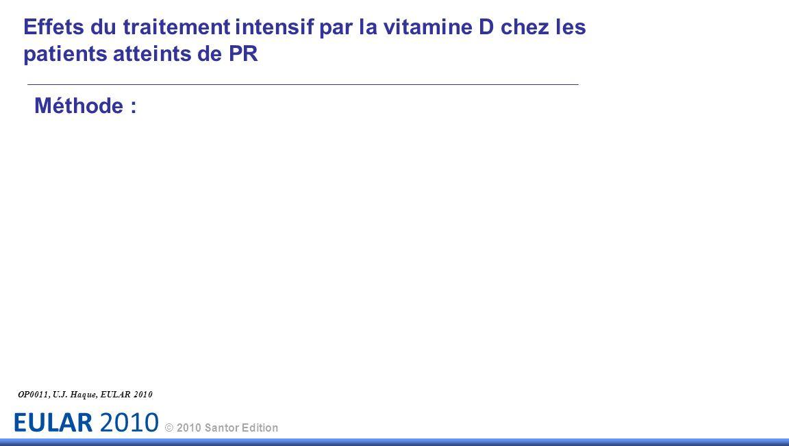 Effets du traitement intensif par la vitamine D chez les patients atteints de PR