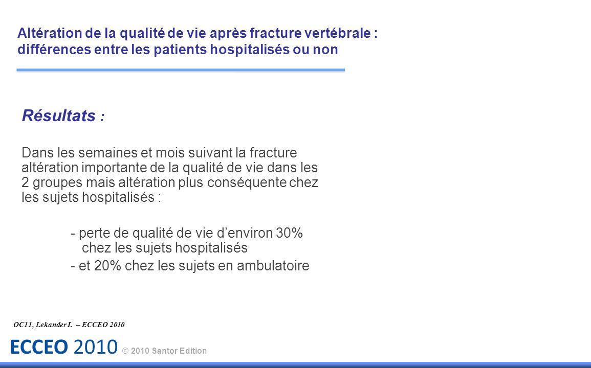 Altération de la qualité de vie après fracture vertébrale : différences entre les patients hospitalisés ou non