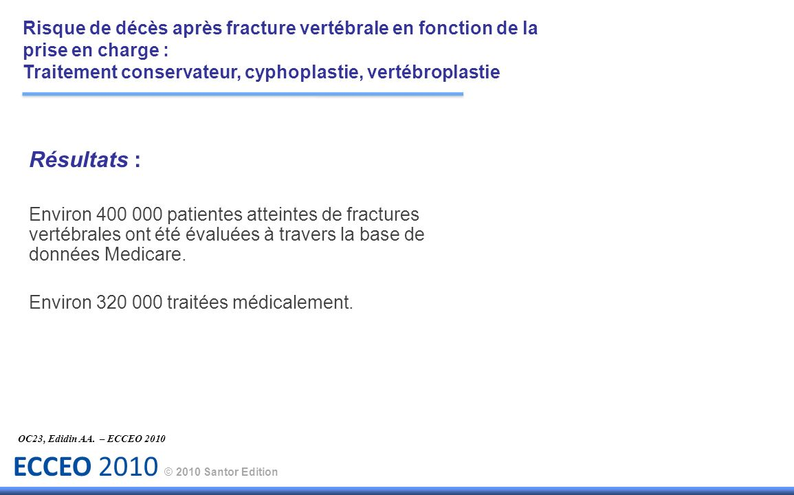 Risque de décès après fracture vertébrale en fonction de la prise en charge :
