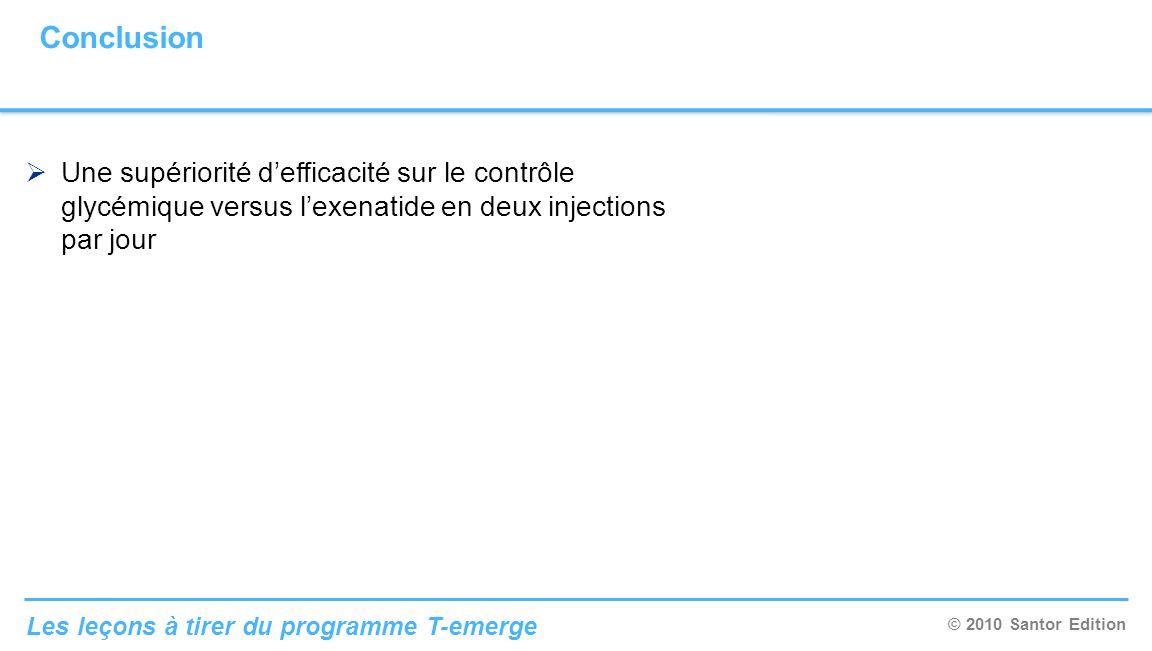 Conclusion Une supériorité d'efficacité sur le contrôle glycémique versus l'exenatide en deux injections par jour.