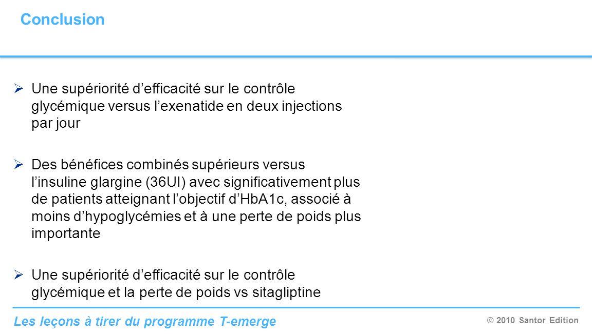 ConclusionUne supériorité d'efficacité sur le contrôle glycémique versus l'exenatide en deux injections par jour.