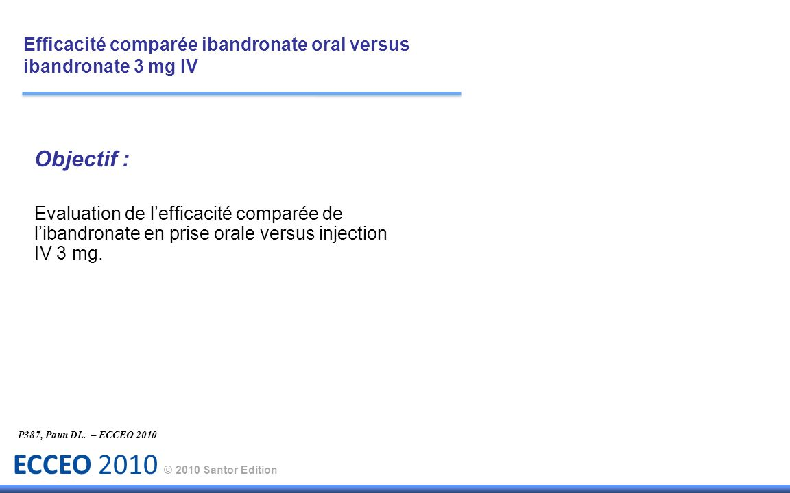 Efficacité comparée ibandronate oral versus ibandronate 3 mg IV