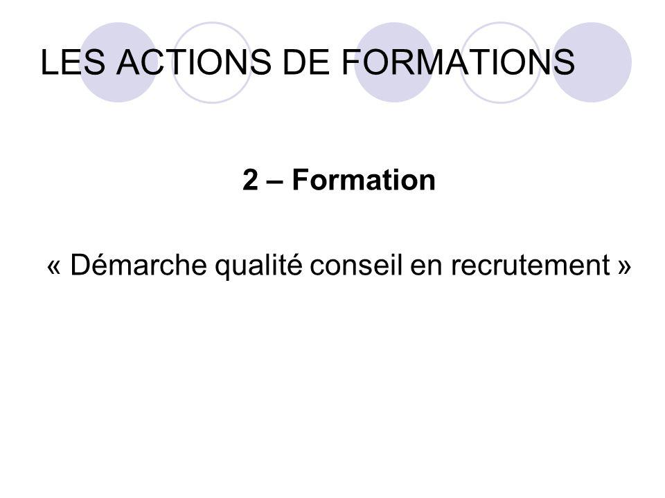 LES ACTIONS DE FORMATIONS