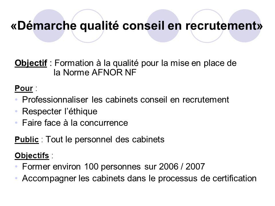 «Démarche qualité conseil en recrutement»