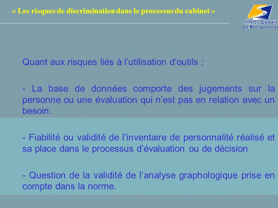 « Les risques de discrimination dans le processus du cabinet »
