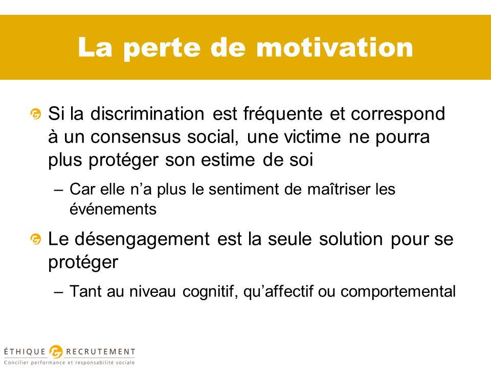 La perte de motivation Si la discrimination est fréquente et correspond à un consensus social, une victime ne pourra plus protéger son estime de soi.