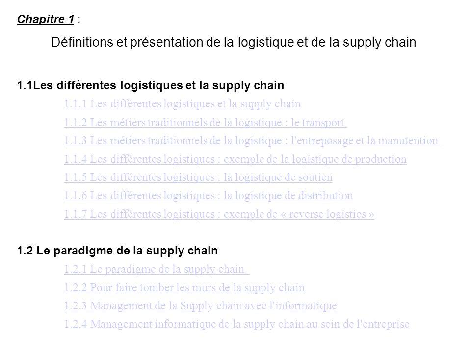 Définitions et présentation de la logistique et de la supply chain