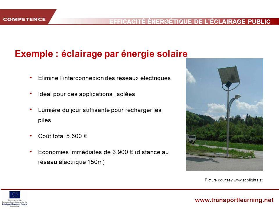 Exemple : éclairage par énergie solaire