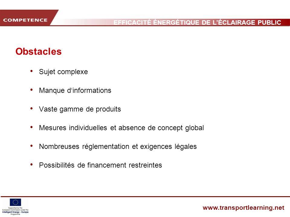 Obstacles Sujet complexe Manque d'informations Vaste gamme de produits