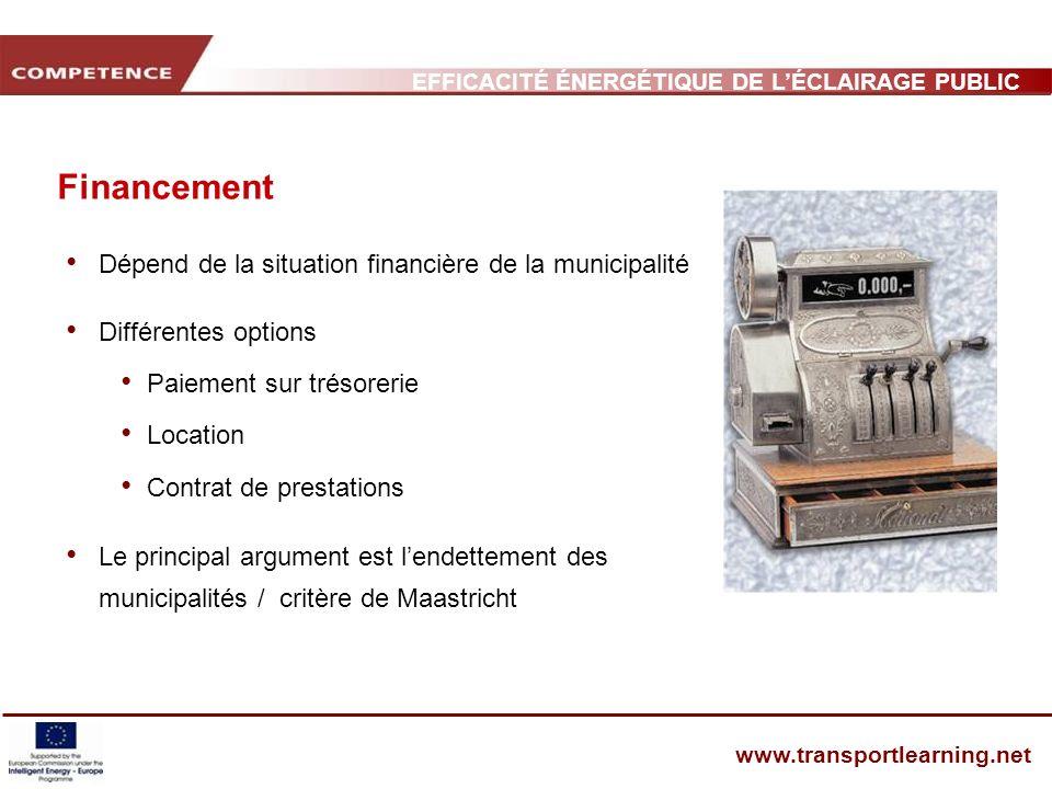 Financement Dépend de la situation financière de la municipalité