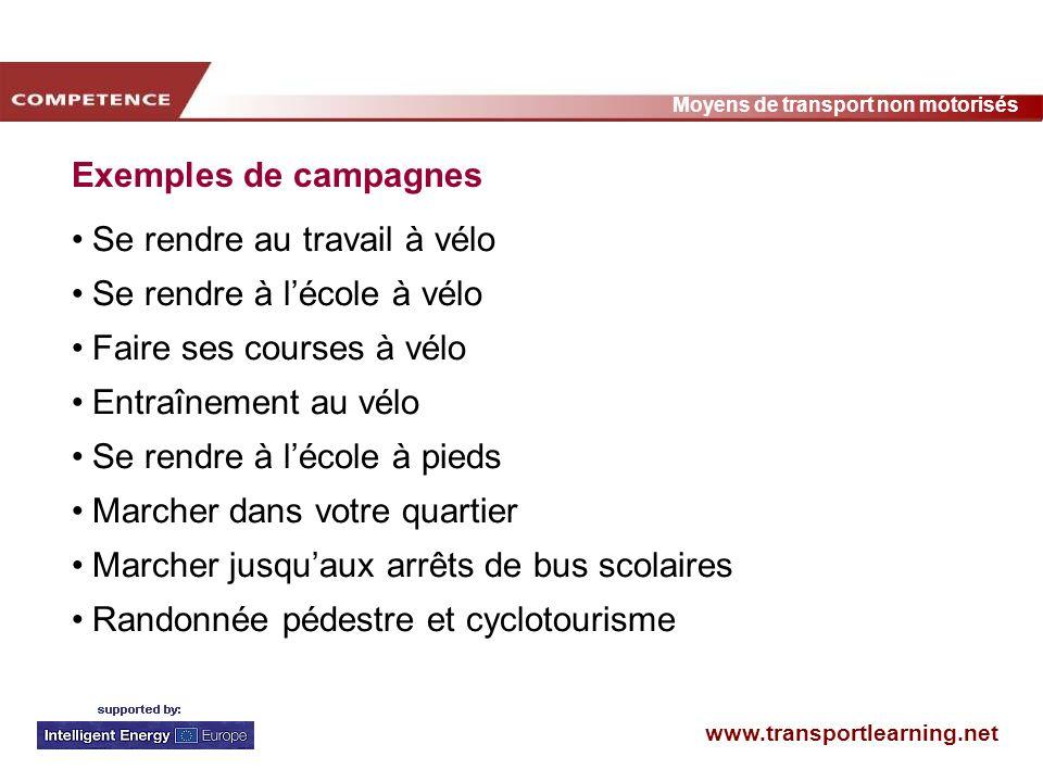 Exemples de campagnesSe rendre au travail à vélo. Se rendre à l'école à vélo. Faire ses courses à vélo.
