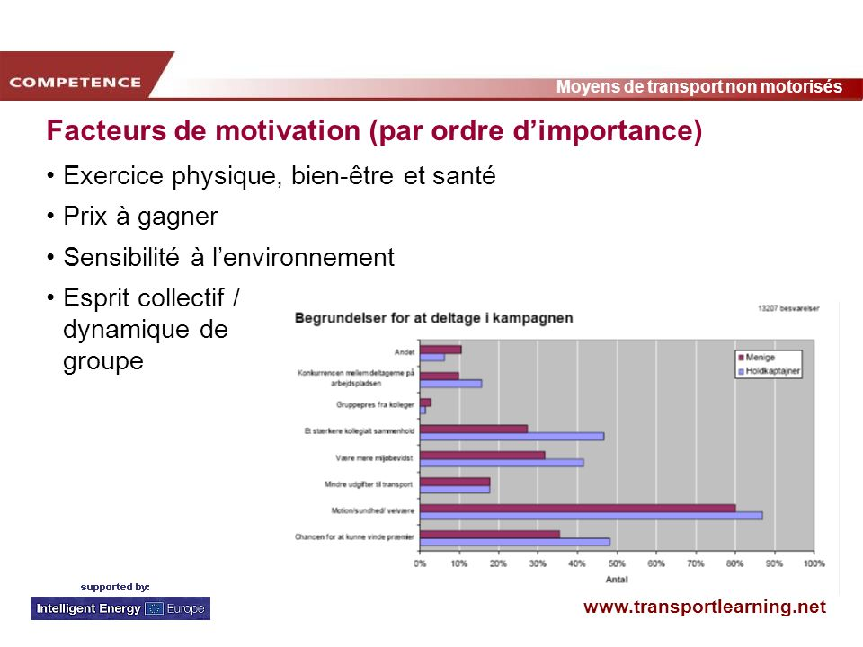 Facteurs de motivation (par ordre d'importance)