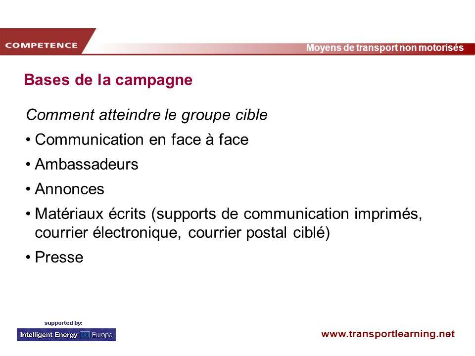 Bases de la campagne Comment atteindre le groupe cible. Communication en face à face. Ambassadeurs.