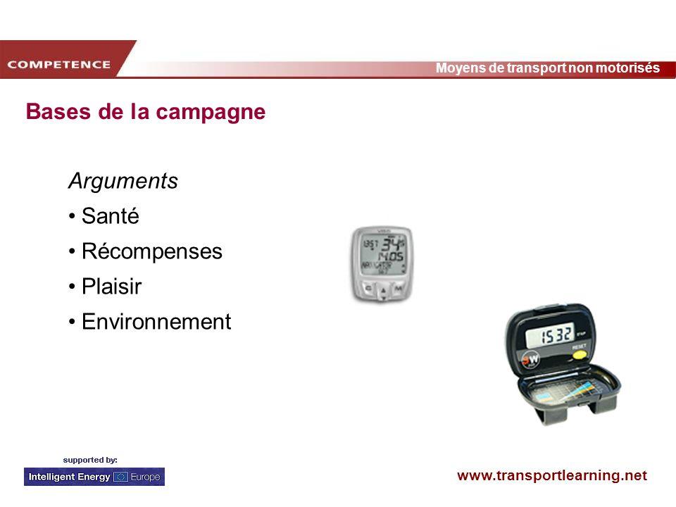 Bases de la campagne Arguments Santé Récompenses Plaisir Environnement