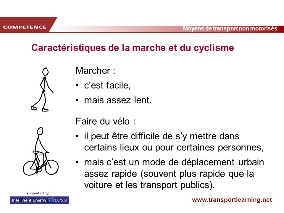 Caractéristiques de la marche et du cyclisme