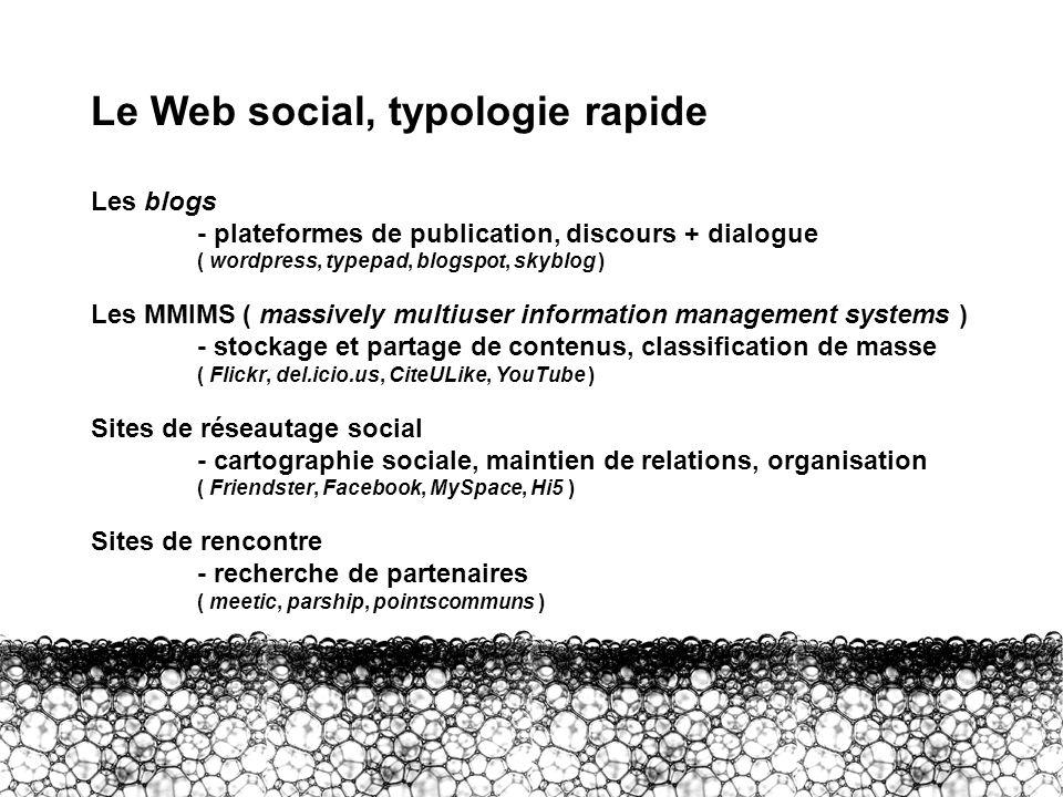 Le Web social, typologie rapide